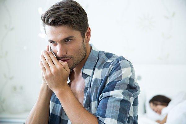 cheating boyfriend on cellphone